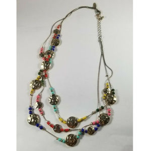 New York & Co Multi Bead Triple Strand Necklace